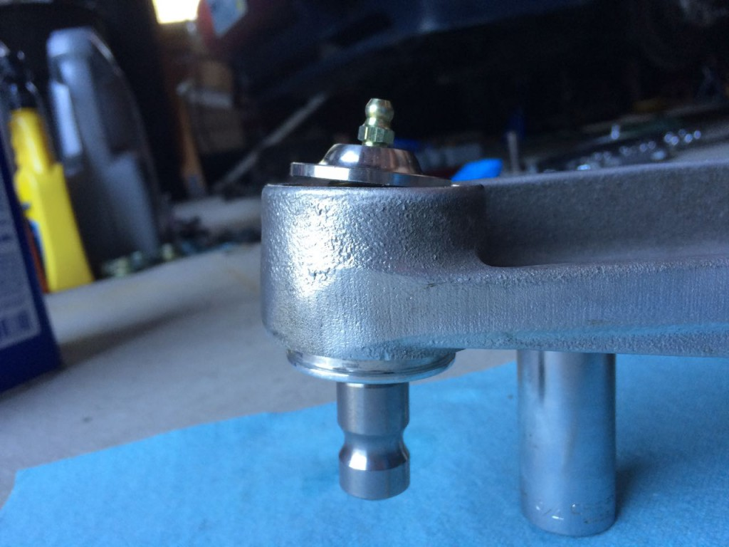 the side view of the 944 ball joint repacked but not yet compressed and snapped in place.